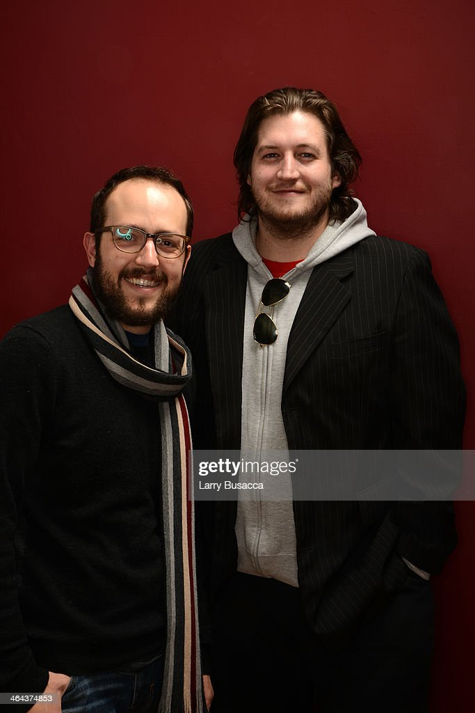 Composer Joseph Trapanese (L) and filmmaker Gareth Evans pose for a portrait during the 2014 Sundance Film Festival at the Getty Images Portrait Studio at the Village At The Lift Presented By McDonald's McCafe on January 22, 2014 in Park City, Utah.