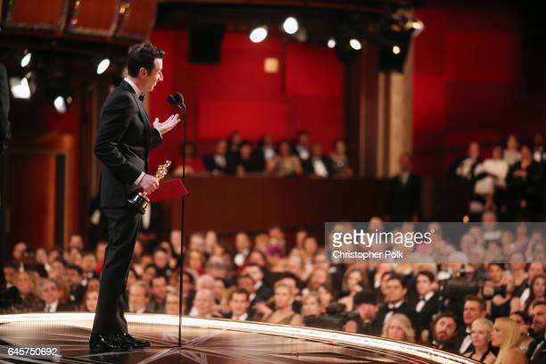 Composer Justin Hurwitz accepts Best Original Score for 'La La Land' onstage backstage during the 89th Annual Academy Awards at Hollywood Highland...