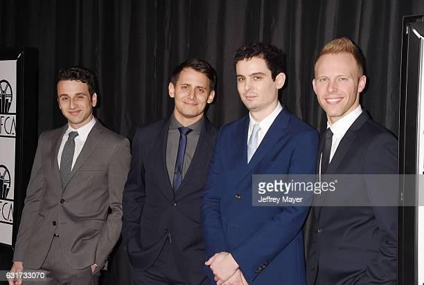 Composer Justin Hurwitz lyricist Benj Pasek director Damien Chazelle and lyricist Justin Paul attend the 42nd annual Los Angeles Film Critics...