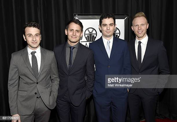 Composer Justin Hurwitz lyricist Benj Pasek lyricist Justin Paul and director Damien Chazelle attend attend the 42nd annual Los Angeles Film Critics...