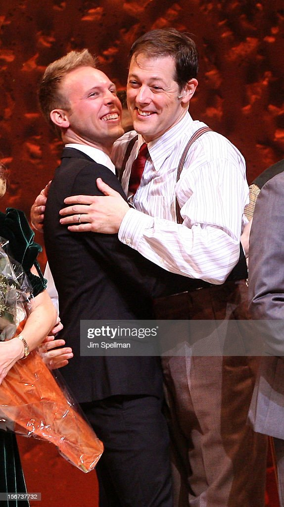 Composer Justin Paul and actor John Bolton attend the 'A Christmas Story: The Musical' Broadway Opening Night at Lunt-Fontanne Theatre on November 19, 2012 in New York City.