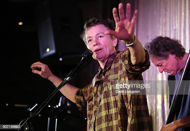Composer Laurie Anderson performs on stage at a Concert for Dogs presented by Cinefamily at Cinefamily on December 20 2015 in Los Angeles California