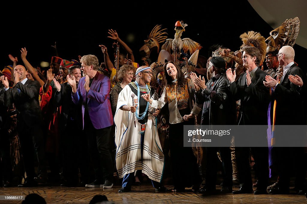 Composer Lebo M and director Julie Taymor and choreographer Garth Fagan take a bow during 'The Lion King' Broadway 15th Anniversary Celebration at Minskoff Theatre on November 18, 2012 in New York City.