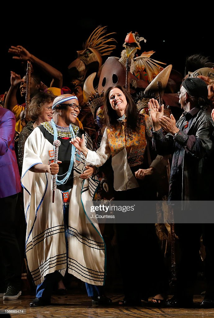 Composer Lebo M, director Julie Taymor and choreographer Garth Fagan take a bow during 'The Lion King' Broadway 15th Anniversary Celebration at Minskoff Theatre on November 18, 2012 in New York City.