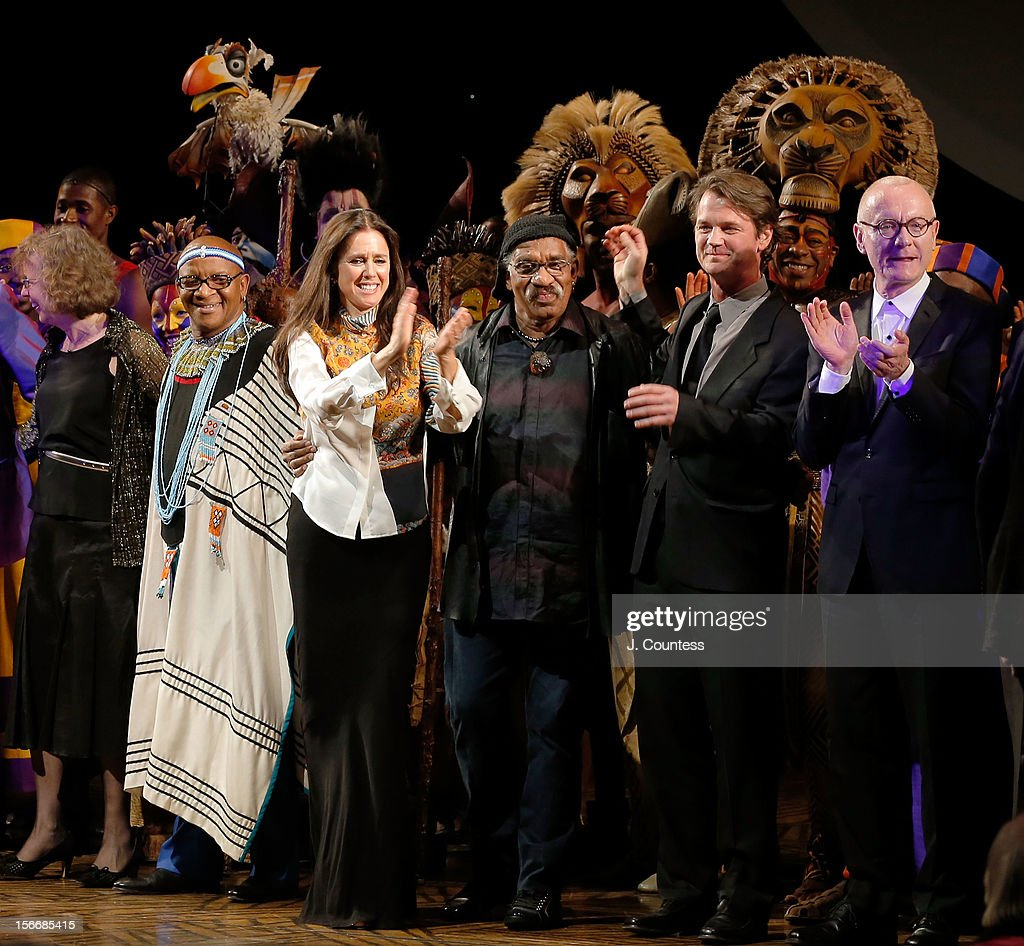 Composer Lebo M, director Julie Taymor, choreographer Garth Fagan, mask and puppet designer Michael Curry and scenic designer Richard Hudson take a bow during 'The Lion King' Broadway 15th Anniversary Celebration at Minskoff Theatre on November 18, 2012 in New York City.