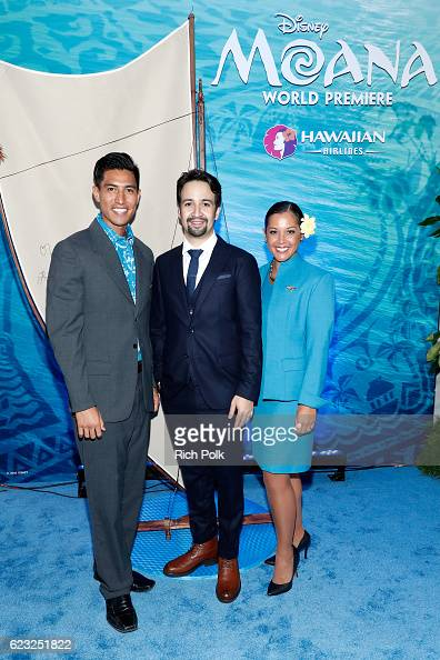 Composer LinManuel Miranda is seen with the Hawaiian Airlines promo team at the Hawaiian Airlines booth at the world premiere of Disney's 'Moana' at...