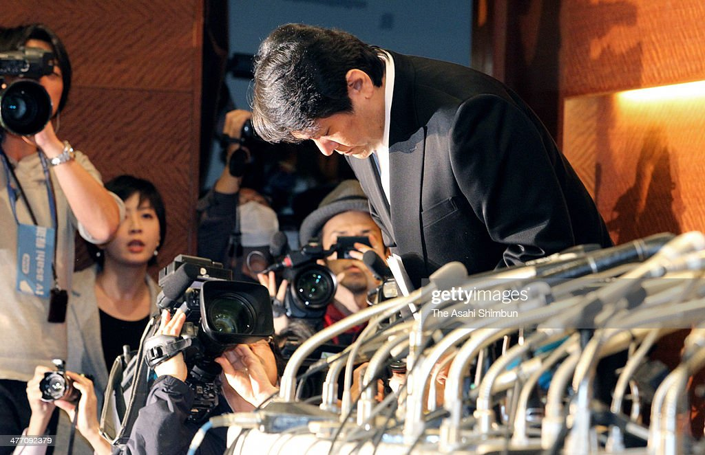 Composer Mamoru Samuragochi bows for apology during the news conference at Tokyo Grand Hotel on March 7, 2014 in Tokyo, Japan. Samuragochi, formerly known as a 'Beethoven of Japan,' has admitted that he was not deaf and was hiring another man to write his most popular works.