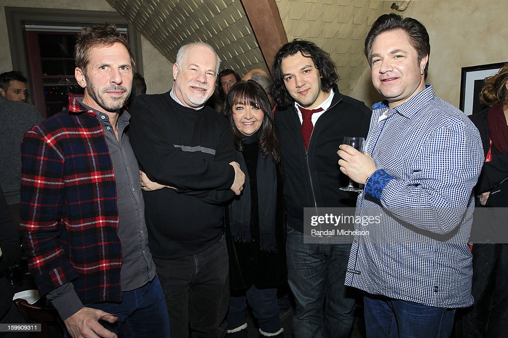 Composer Mark De Gli Antoni, Disney Executive Scott Holtzman, BMI Executive Doreen Ringer-Ross, composer Enis Rotthoff and agent Robert Messenger attend the BMI Sundance Dinner at Zoom Restaurant on January 22, 2013 in Park City, Utah.
