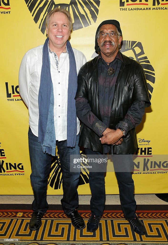 Composer Mark Mancina and choreographer Garth Fagan attend the afterparty for 'The Lion King' Broadway 15th Anniversary Celebration at Minskoff Theatre on November 18, 2012 in New York City.