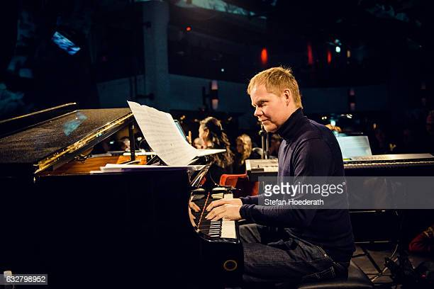 Composer Max Richter and his ensemble perform live on stage during Yellow Lounge organized by recording label Deutsche Grammophon at Saeaelchen on...