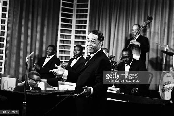 Composer musician and bandleader Duke Ellington and composer lyricist and pianist Billy Strayhorn perform with the Duke Ellington Orchestra at NBCTV...