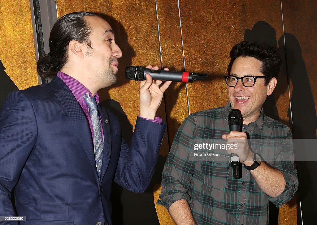 Composer of 'The Force Awakens' song Lin Manuel Miranda and 'Star Wars:The Force Awakens' director J.J. Abrams debut the 'Star Wars: The Force Awakens' song 'Jabba Flow' (avilable on iTunes today) at 'Hamilton' on Broadway at the Richard Rodgers Theatre on May 4, 2016 in New York City.