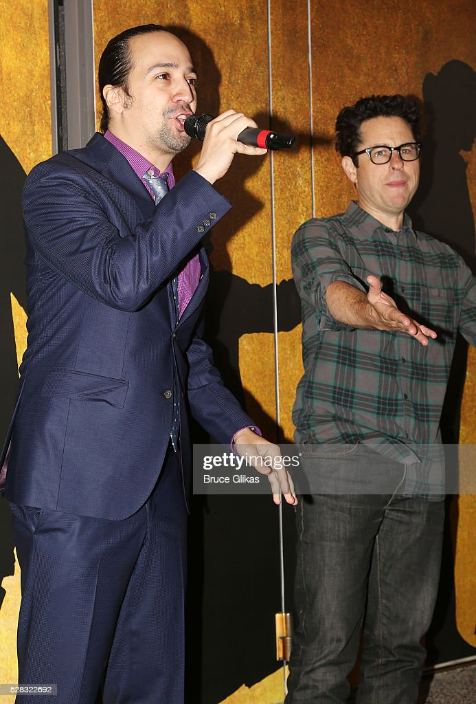 Composer of 'The Force Awakens' song Lin Manuel Miranda and 'Star Wars:The Force Awakens' director <a gi-track='captionPersonalityLinkClicked' href=/galleries/search?phrase=J.J.+Abrams&family=editorial&specificpeople=253632 ng-click='$event.stopPropagation()'>J.J. Abrams</a> debut the 'Star Wars: The Force Awakens' song 'Jabba Flow' (avilable on iTunes today) at 'Hamilton' on Broadway at the Richard Rodgers Theatre on May 4, 2016 in New York City.