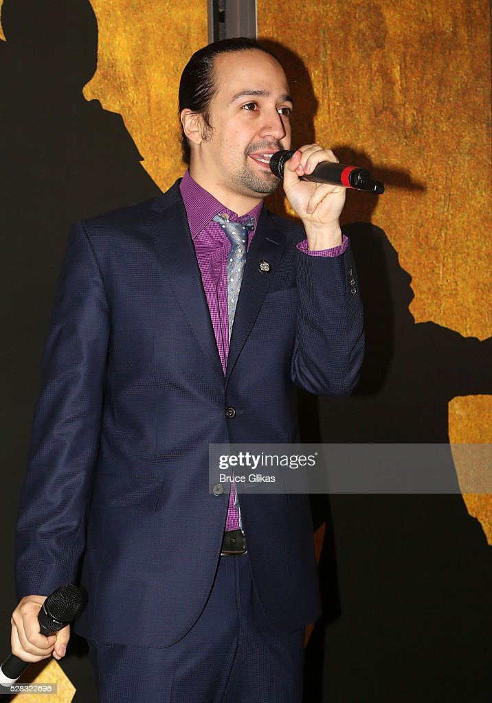 Composer of 'The Force Awakens' song Lin Manuel Miranda debuts the 'Star Wars: The Force Awakens' song called 'Jabba Flow' (avilable on iTunes today) at 'Hamilton' on Broadway at the Richard Rodgers Theatre on May 4, 2016 in New York City.