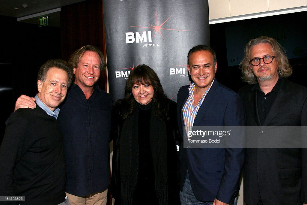 Composer Peter Golub, Music supervisor Adam Smalley, Vice president, Film/TV Relations at BMI <a gi-track='captionPersonalityLinkClicked' href=/galleries/search?phrase=Doreen+Ringer+Ross&family=editorial&specificpeople=632515 ng-click='$event.stopPropagation()'>Doreen Ringer Ross</a>, President of Costa Communications Ray Costa and composer Anton Sanko attend the Sundance Institute Composers Lab LA on April 12, 2014 in Beverly Hills, California.