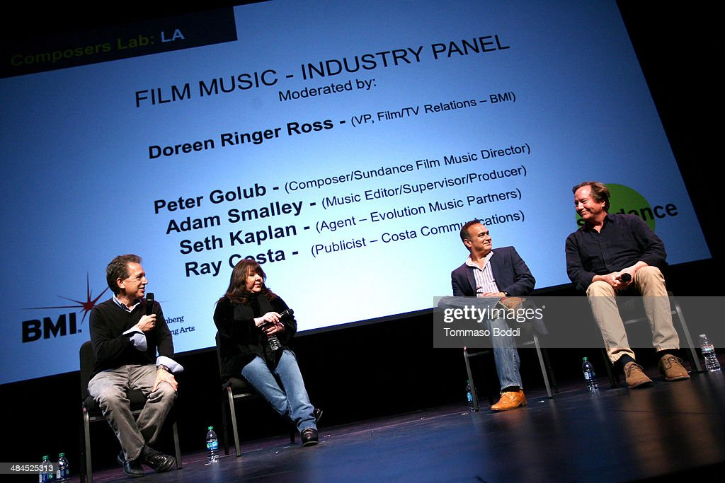 Composer Peter Golub, vice president, Film/TV Relations at BMI, Doreen Ringer Ross, president of Costa Communications Ray Costa and music supervisor Adam Smalley attend the Sundance Institute Composers Lab LA on April 12, 2014 in Beverly Hills, California.