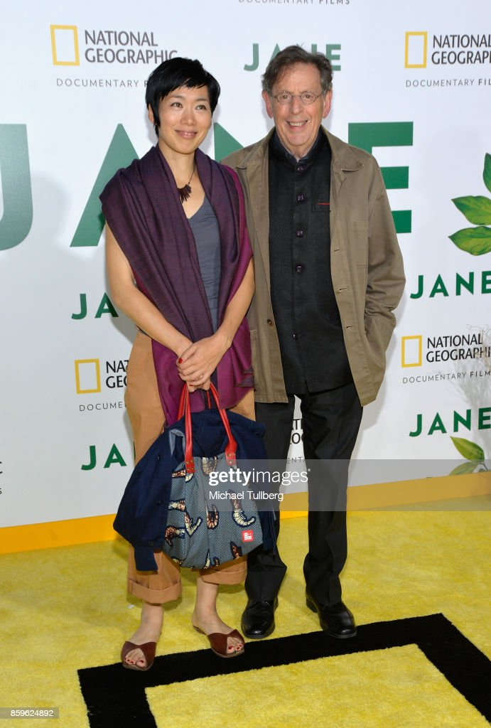 Composer Philip Glass (R) and guest attend the premiere of National Geographic Documentary Films' 'Jane' at the Hollywood Bowl on October 9, 2017 in Hollywood, California.