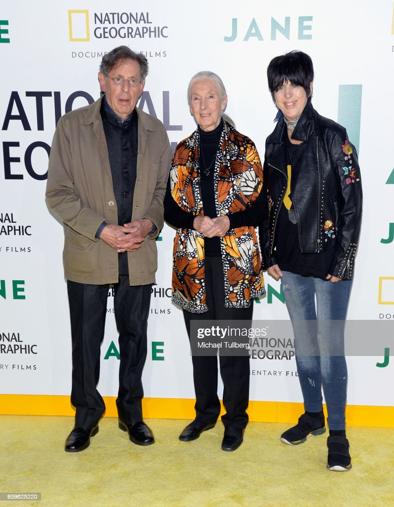 Composer Philip Glass, primatologist Dr. Jane Goodall and Diane Warren attend the premiere of National Geographic Documentary Films' 'Jane' at the Hollywood Bowl on October 9, 2017 in Hollywood, California.