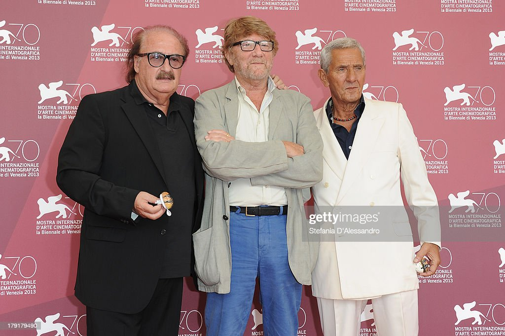 Composer Pino Donaggio, director Gianni Bozzacchi and actor Enzo Staiola attend 'Non Eravamo Solo... Ladri di Biciclette. Il Neorealismo' Premiere during the 70th Venice International Film Festival at Sala Perla on September 1, 2013 in Venice, Italy.