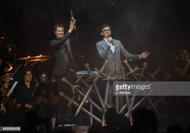Composer Ramin Djawadi and actor Isaac Hempstead Wright attend the 'Game Of Thrones' In Concert at Madison Square Garden on March 7 2017 in New York...