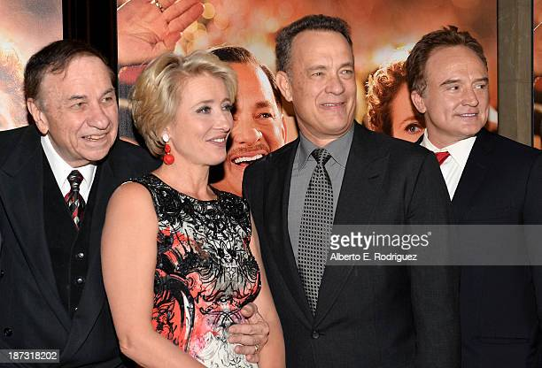 Composer Richard Sherman actress Emma Thompson actor Tom Hanks and actor Bradley Whitford attend a cocktail party prior to the Opening Night Gala...