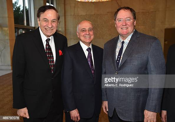 Composer Richard Sherman honoree Ed Nowak and CEO of Pixar Walt Disney Animation Studios and DisneyToon Studios John Lasseter attend The Los Angeles...