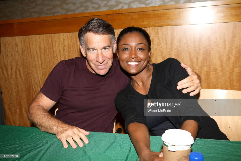 Composer Stephen Schwartz and Patina Miller attends the Broadway cast of 'Pippin' performance and CD signing at Barnes & Noble, 86th & Lexington on July 9, 2013 in New York City.