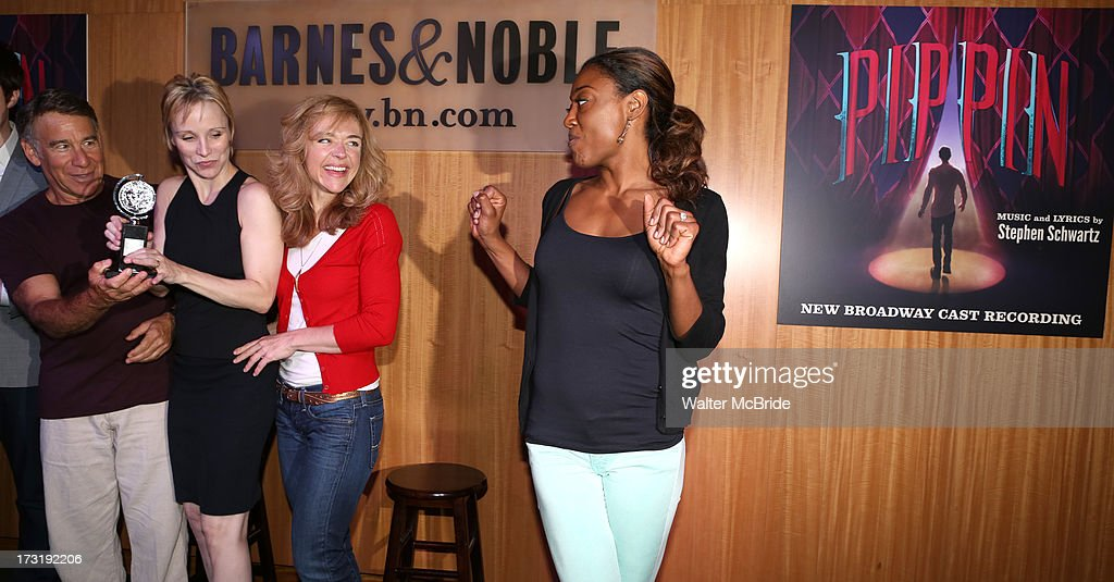Composer Stephen Schwartz, Charlotte d'Amboise, Rachel Bay Jones and Patina Miller attend the Broadway cast of 'Pippin' performance and CD signing at Barnes & Noble, 86th & Lexington on July 9, 2013 in New York City.