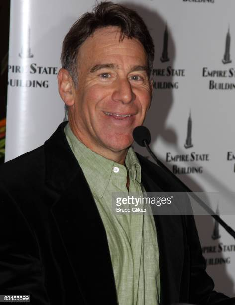 Composer Stephen Schwartz poses at the lighting of the Empire State Building wicked green for the 5th anniversary of 'Wicked' on Broadway on October...
