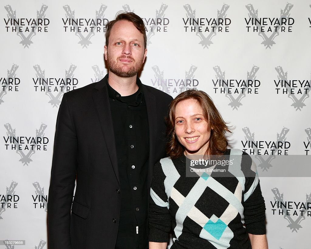 Composer Todd Almond and playwright Jenny Schwartz attend the off Broadway opening night of 'The North Pool' at Vineyard Theatre on March 6, 2013 in New York City.