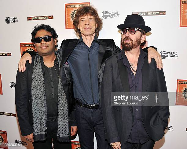 Composer/musician AR Rahman singer Mick Jagger and musician Dave Stewart of SuperHeavy attend the SuperHeavy launch party at The Double Seven on...