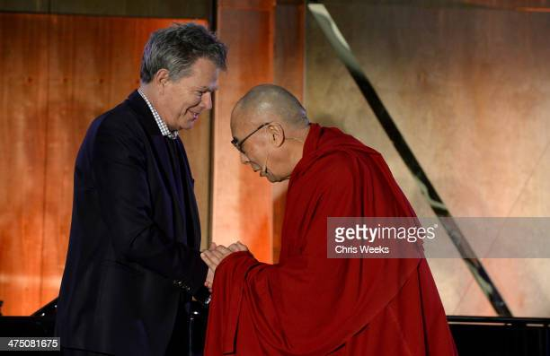 Composerr David Foster and His Holiness the 14th Dalai Lama attend The Lourdes Foundation 'Leadership in the 21st Century' Event with His Holiness...