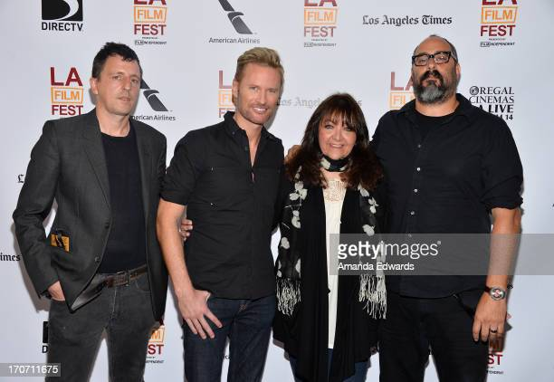 Composers Atticus Ross Brian Tyler moderator BMI Vice President Film Television Relations Doreen RingerRoss and composer David Sardy attend Coffee...