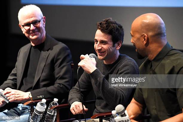 Composers Eddie Arkin Justin Hurwitz and rapper Common speak during TheWrap's 'An Evening of Best Song Contenders' on December 12 2016 in Los Angeles...