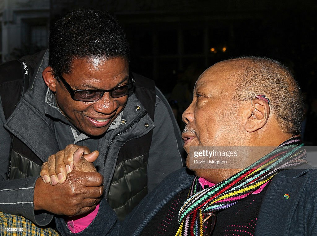 Composers <a gi-track='captionPersonalityLinkClicked' href=/galleries/search?phrase=Herbie+Hancock&family=editorial&specificpeople=214131 ng-click='$event.stopPropagation()'>Herbie Hancock</a> (L) and <a gi-track='captionPersonalityLinkClicked' href=/galleries/search?phrase=Quincy+Jones&family=editorial&specificpeople=171797 ng-click='$event.stopPropagation()'>Quincy Jones</a> attend the 35th Anniversary Playboy Jazz Festival news conference at the Playboy Mansion on February 28, 2013 in Beverly Hills, California.