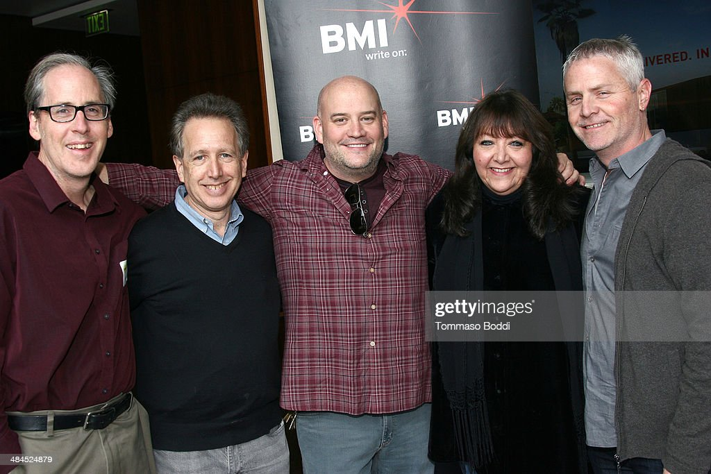 Composers Jeff Beal, Peter Golub, Trevor Morris, Vice president, Film/TV Relations at BMI <a gi-track='captionPersonalityLinkClicked' href=/galleries/search?phrase=Doreen+Ringer+Ross&family=editorial&specificpeople=632515 ng-click='$event.stopPropagation()'>Doreen Ringer Ross</a> and composer Blake Neely attend the Sundance Institute Composers Lab LA on April 12, 2014 in Beverly Hills, California.