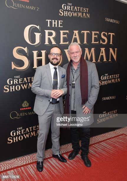 Composers Joe Trapanese and John Denby attend the 'The Greatest Showman' World Premiere aboard the Queen Mary 2 at the Brooklyn Cruise Terminal on...