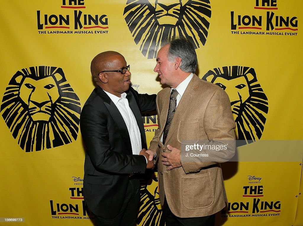 Composers Lebo M and Karl Jurman attend the afterparty for 'The Lion King' Broadway 15th Anniversary Celebration at Minskoff Theatre on November 18, 2012 in New York City.