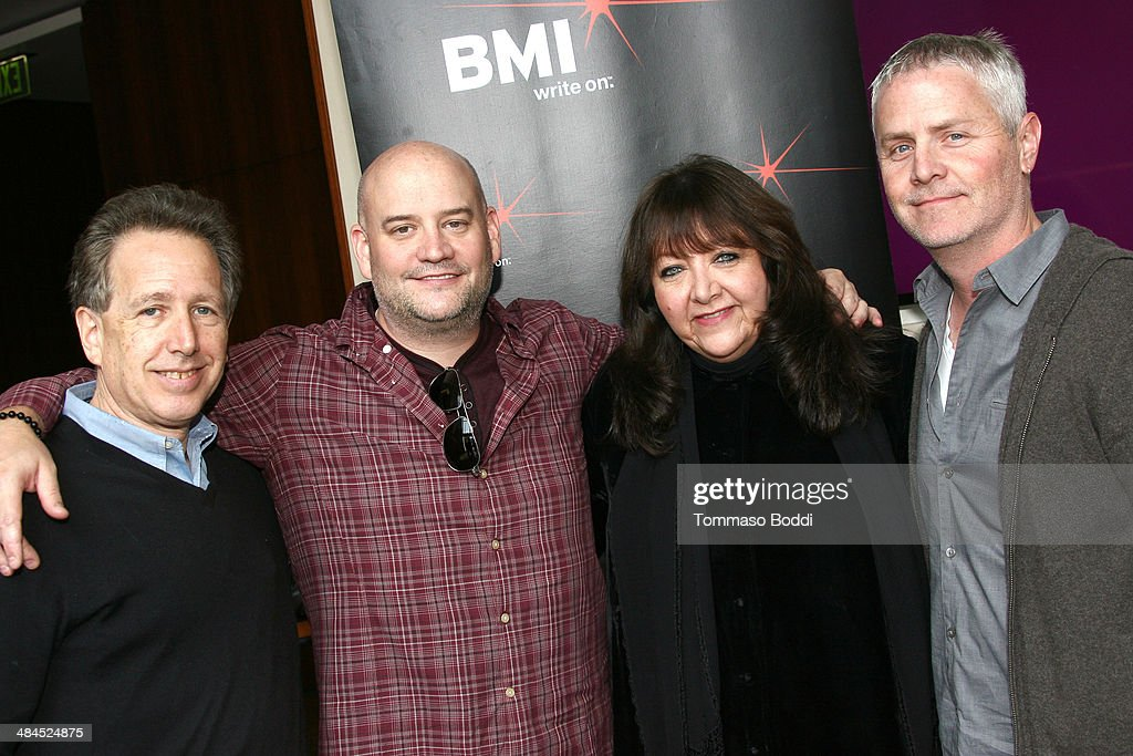 Composers Peter Golub, Trevor Morris, Vice president, Film/TV Relations at BMI <a gi-track='captionPersonalityLinkClicked' href=/galleries/search?phrase=Doreen+Ringer+Ross&family=editorial&specificpeople=632515 ng-click='$event.stopPropagation()'>Doreen Ringer Ross</a> and composer Blake Neely attend the Sundance Institute Composers Lab LA on April 12, 2014 in Beverly Hills, California.