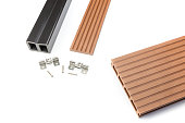 Composite decking plank with fastening material. With this material you can make a platform, a deck, decking or footbridge outdoors that is completely weather resistant. It is waterproof because it's