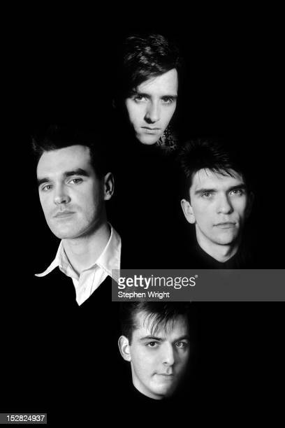A composite group portrait of English alternative rock group The Smiths taken at Johnny Marr's house in Manchester 1986 Clockwise from centreleft...