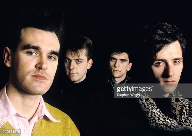 Composite group portrait of The Smiths LR Morrissey Andy Rourke Mike Joyce Johnny Marr Manchester 1986