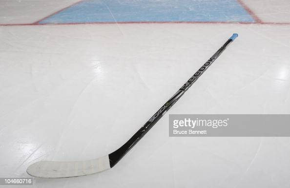 A composite hockey stick photographed prior to the game between the New York Islanders and the New Jersey Devils at the Nassau Veterans Memorial...