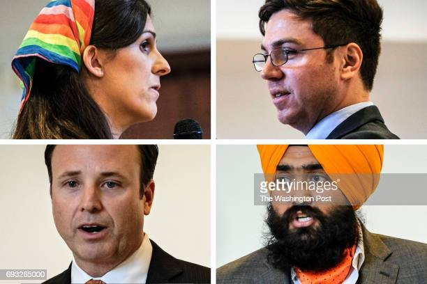 A composite image clockwise from top left of Democratic primary candidates Danica Roem Andrew A Adams Mansimran Singh Kahlon and Steven Jansen The...