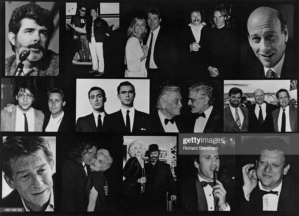 A composite image of actors and filmmakers, who are due to attend the Cannes International Film Festival in May 1989. Top row, left to right: <a gi-track='captionPersonalityLinkClicked' href=/galleries/search?phrase=George+Lucas&family=editorial&specificpeople=202500 ng-click='$event.stopPropagation()'>George Lucas</a>, unknown, Arnold Schwartzenegger, Susan George, Richard Gere, unknown, Sting, unknown. Middle row, left to right: Judd Nelson, Emilio Estevez, <a gi-track='captionPersonalityLinkClicked' href=/galleries/search?phrase=Martin+Kemp&family=editorial&specificpeople=213385 ng-click='$event.stopPropagation()'>Martin Kemp</a>, <a gi-track='captionPersonalityLinkClicked' href=/galleries/search?phrase=Gary+Kemp&family=editorial&specificpeople=213076 ng-click='$event.stopPropagation()'>Gary Kemp</a>, David Lean, Omar Sharif, unknown. Bottom row, left to right: <a gi-track='captionPersonalityLinkClicked' href=/galleries/search?phrase=John+Hurt&family=editorial&specificpeople=210790 ng-click='$event.stopPropagation()'>John Hurt</a>, unknown, unknown, a Marilyn Monroe lookalike with <a gi-track='captionPersonalityLinkClicked' href=/galleries/search?phrase=Bob+Hoskins&family=editorial&specificpeople=208792 ng-click='$event.stopPropagation()'>Bob Hoskins</a>, unknown, producer <a gi-track='captionPersonalityLinkClicked' href=/galleries/search?phrase=Jeremy+Thomas+-+Film+Producer&family=editorial&specificpeople=629756 ng-click='$event.stopPropagation()'>Jeremy Thomas</a>.