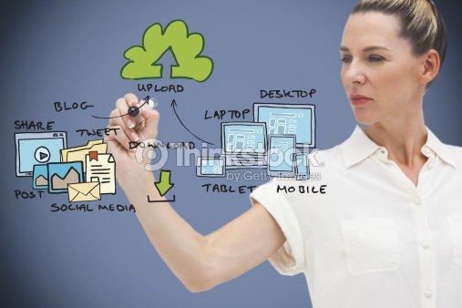 Composite image of businesswoman writing flowchart : Stock Photo