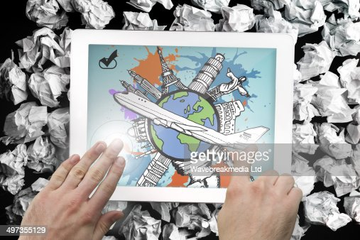 Composite image of hands pointing and presenting on tablet : Stock Photo