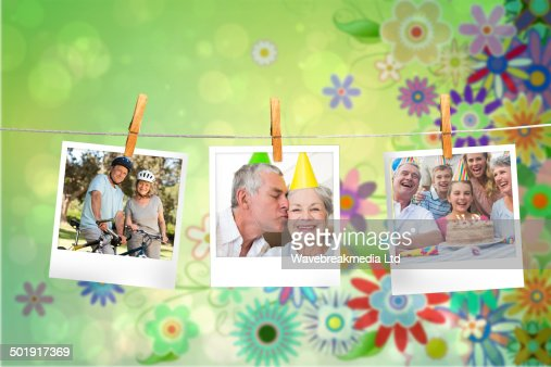 Composite image of instant photos hanging on a line : Stock Photo