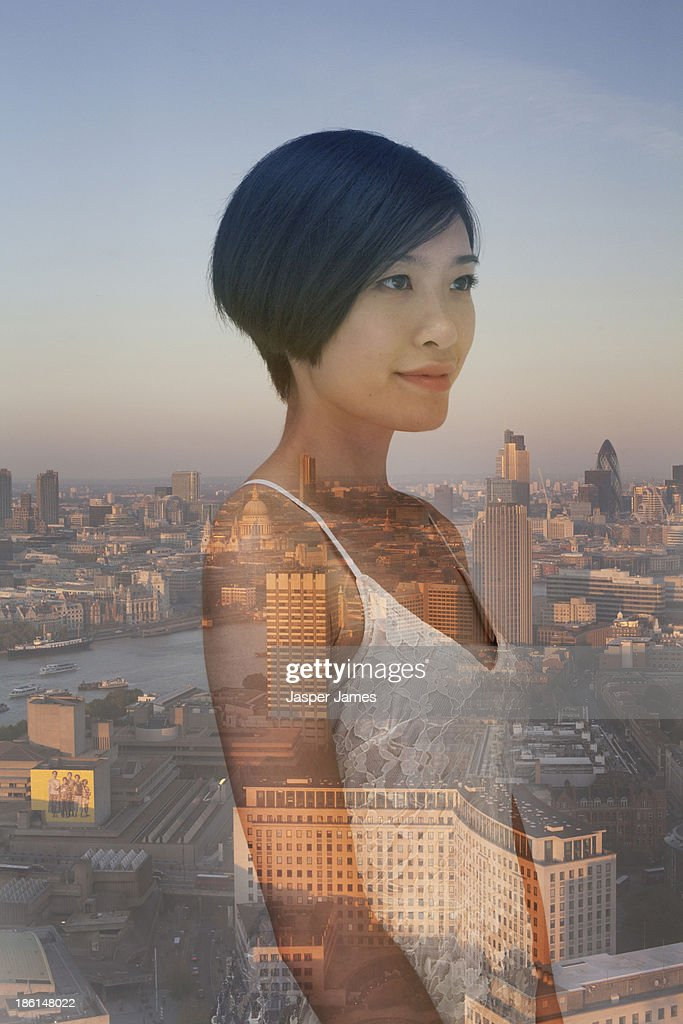composite image of London and young woman : Stock Photo