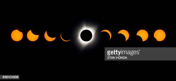 TOPSHOT A composite image of the total solar eclipse seen from the Lowell Observatory Solar Eclipse Experience August 21 2017 in Madras Oregon / AFP...